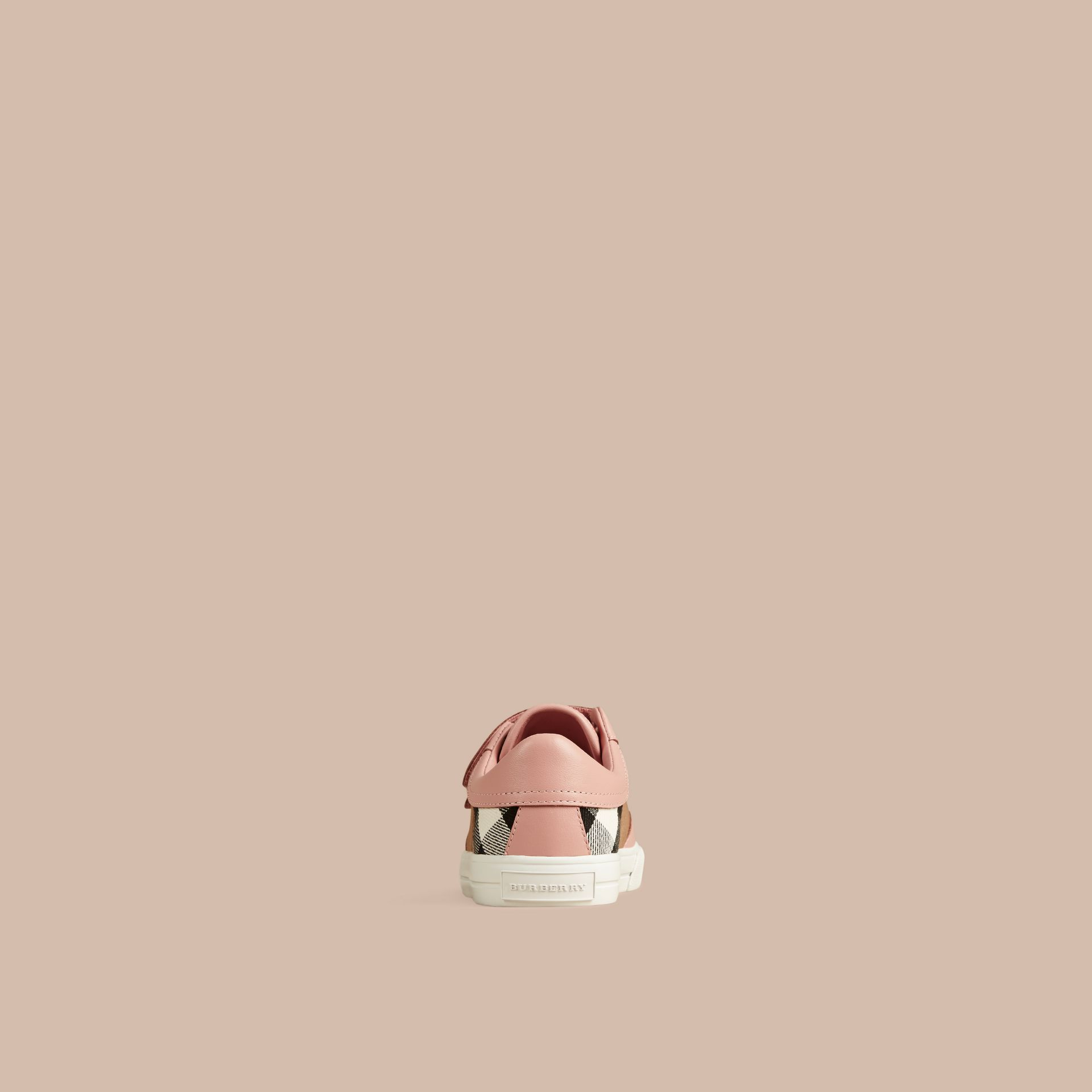 House Check and Leather Trainers in Nude Blush - Girl | Burberry - gallery image 3