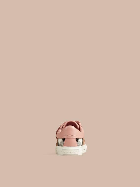 House Check and Leather Trainers in Nude Blush - Girl | Burberry - cell image 2
