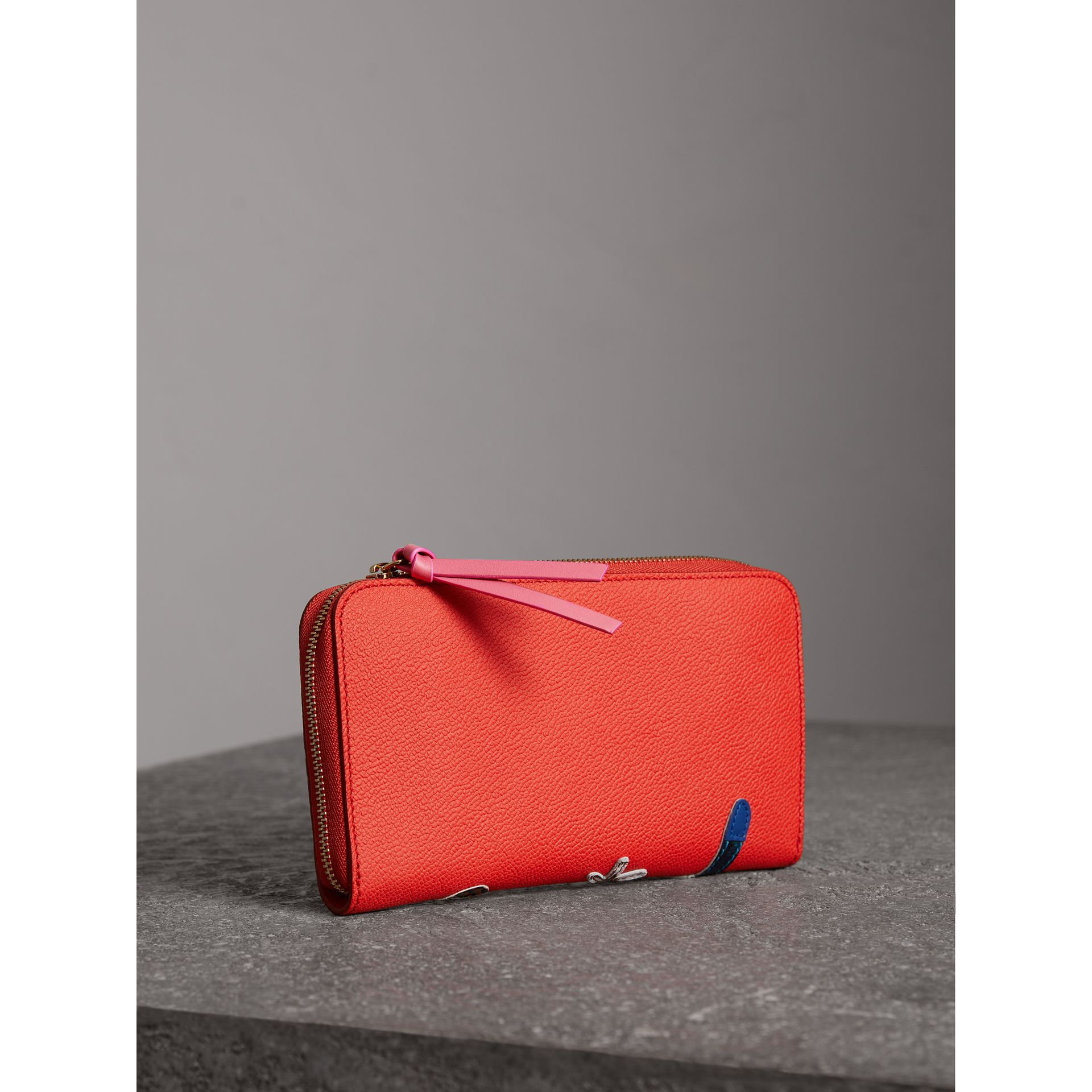 Creature Appliqué Check Leather Ziparound Wallet in Orange Red - Women | Burberry - gallery image 3