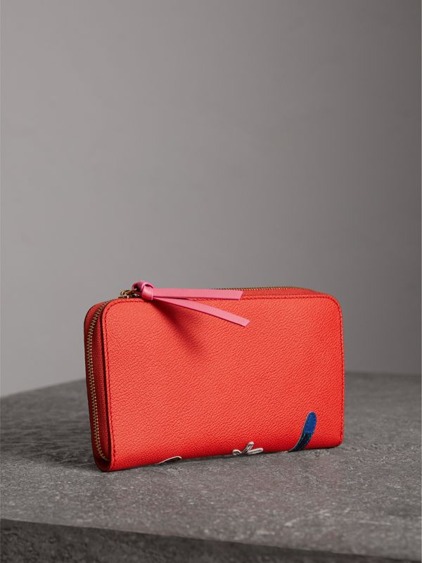 Creature Appliqué Check Leather Ziparound Wallet in Orange Red - Women | Burberry United Kingdom - cell image 2