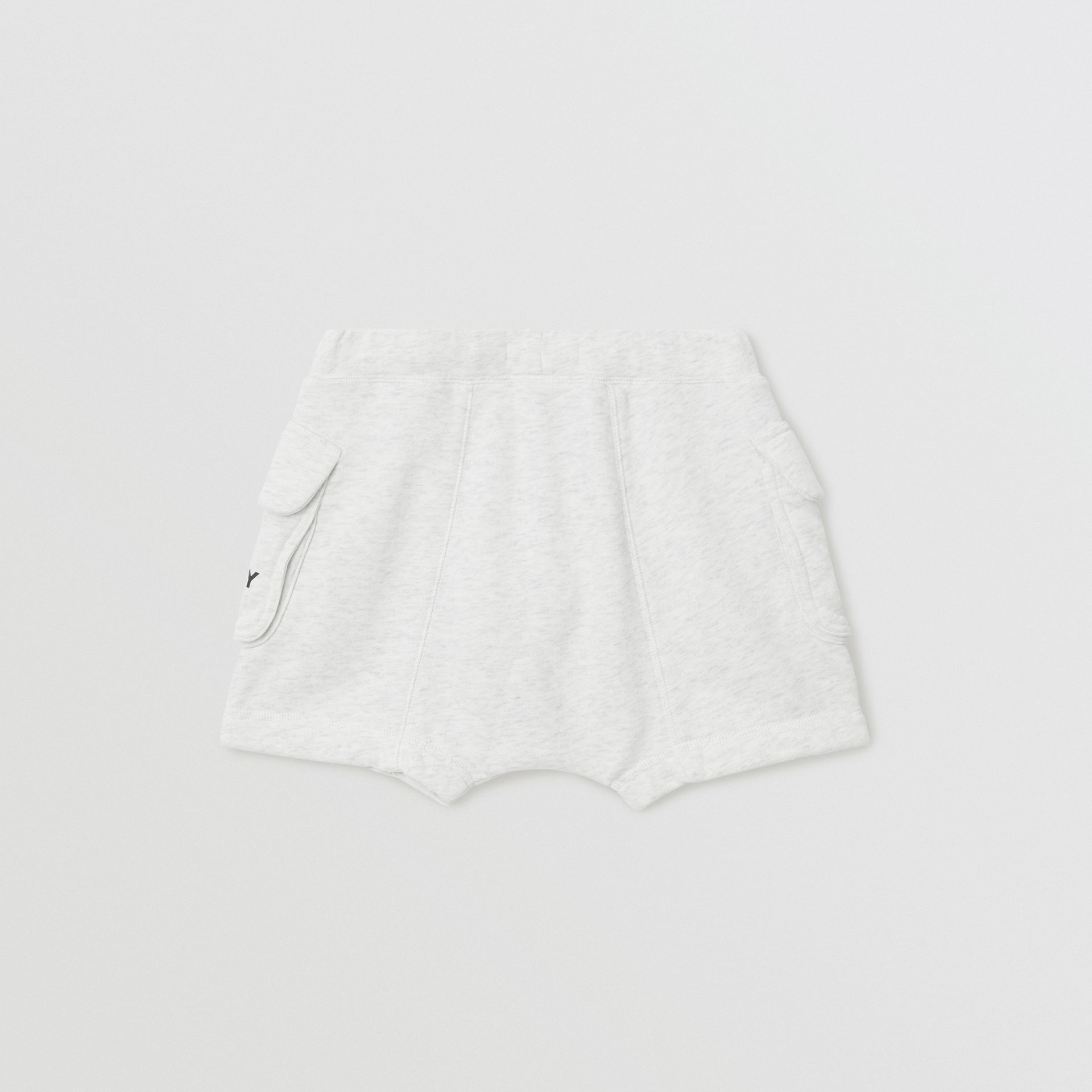Logo Print Cotton Drawcord Shorts in White Melange | Burberry Australia - gallery image 3