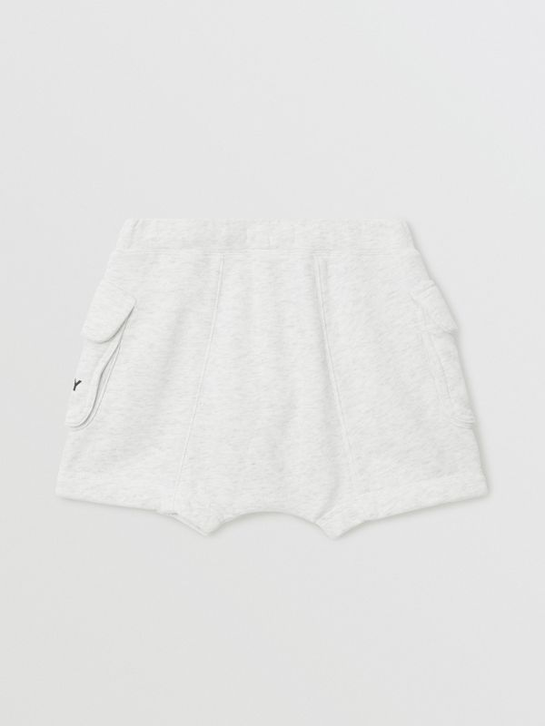 Logo Print Cotton Drawcord Shorts in White Melange | Burberry Australia - cell image 3