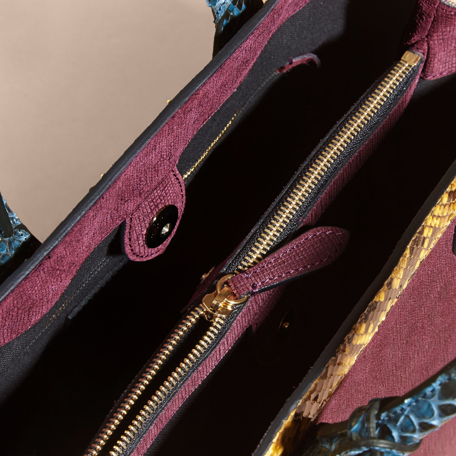 The Medium Banner in Leather, Python and House Check Elderberry - gallery image 6