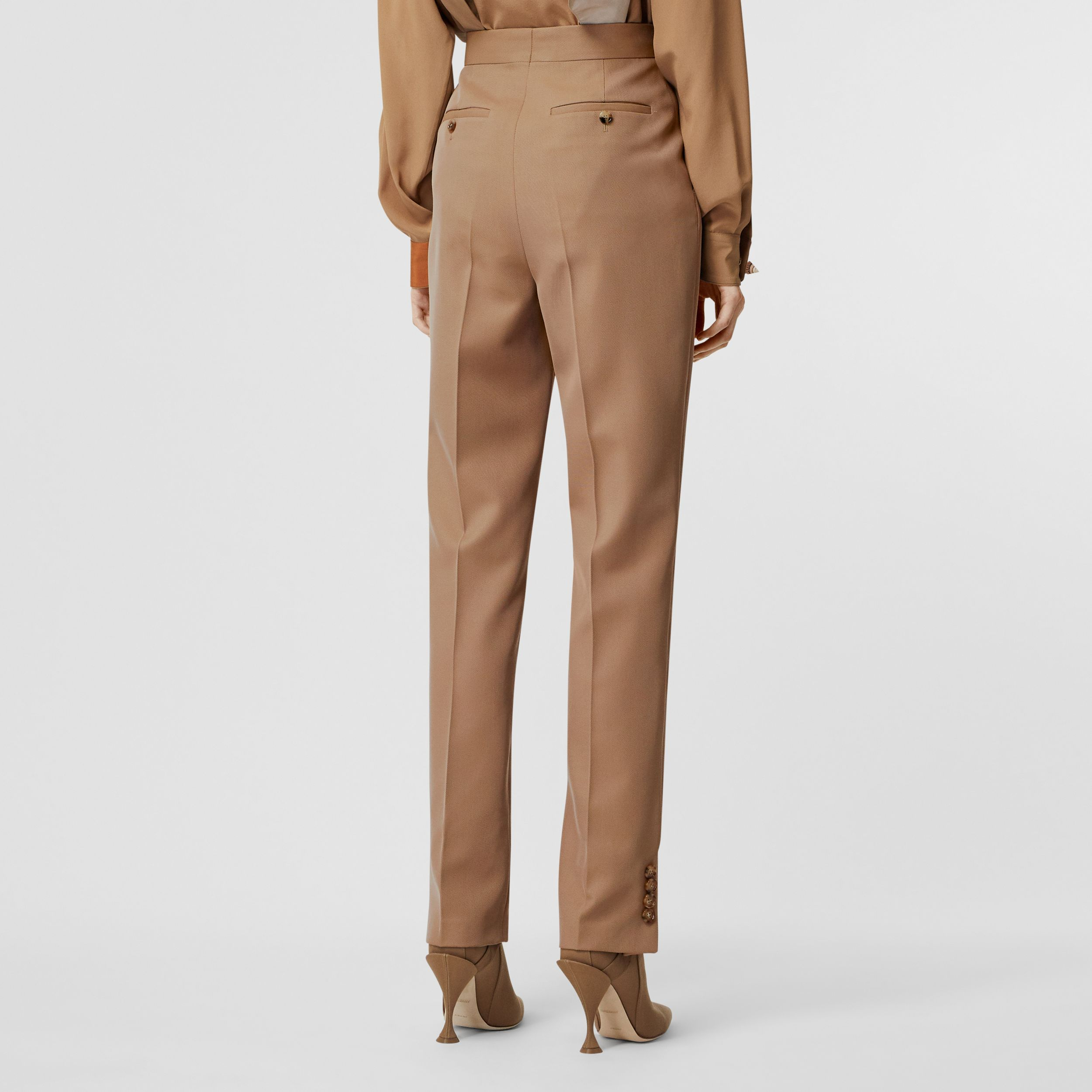 Straight Fit Button Detail Wool Blend Tailored Trousers in Camel - Women | Burberry - 3