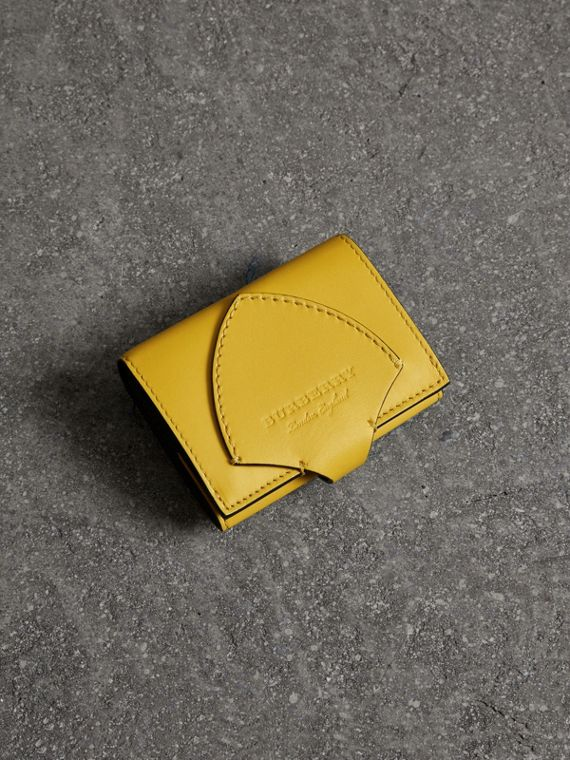 Equestrian Shield Leather Continental Wallet in Bright Larch Yellow