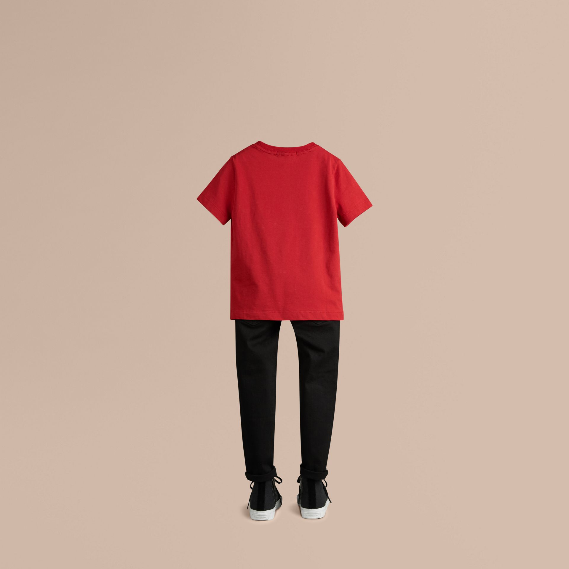 Check Pocket Cotton T-shirt in Military Red - gallery image 3