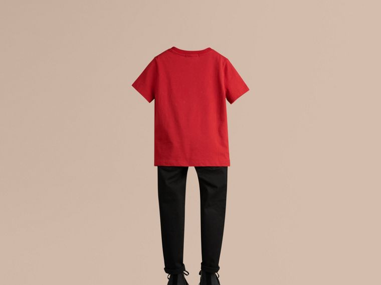 Check Pocket Cotton T-shirt in Military Red - cell image 2