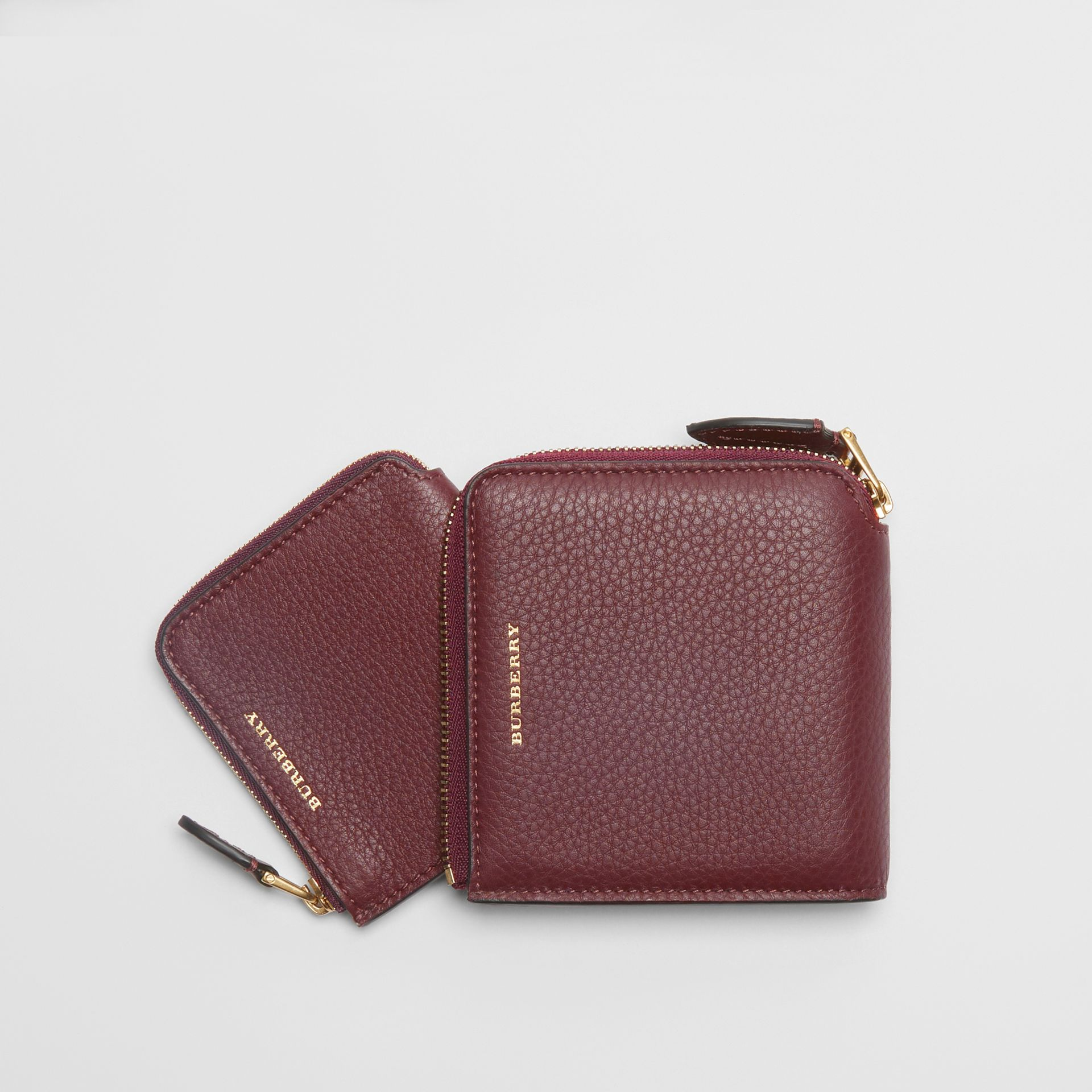 Grainy Leather Square Ziparound Wallet in Deep Claret - Women | Burberry United Kingdom - gallery image 3