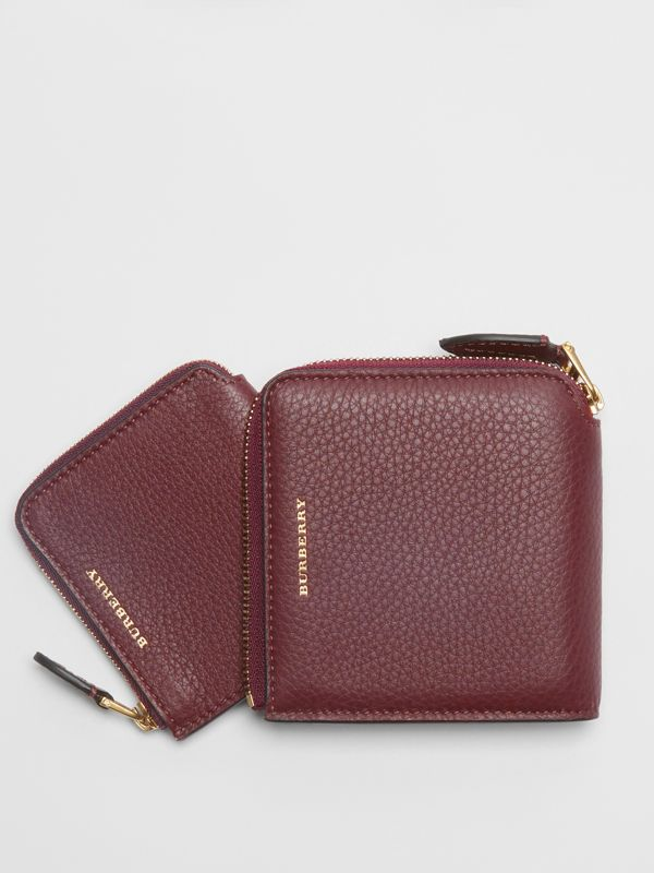 Grainy Leather Square Ziparound Wallet in Deep Claret - Women | Burberry United Kingdom - cell image 3