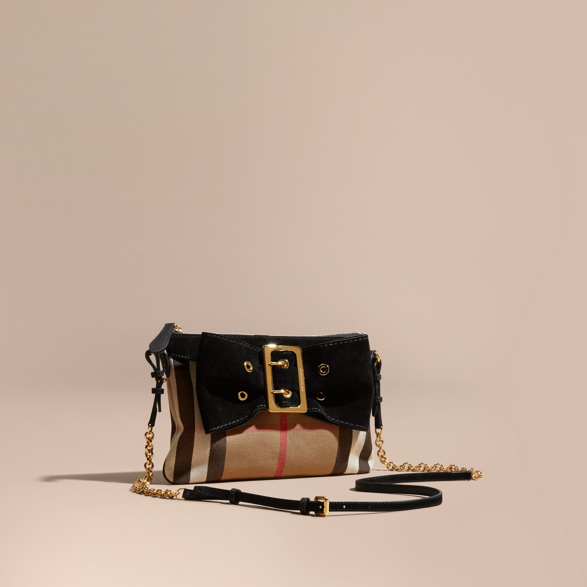 Black House Check Clutch Bag with Suede Buckled Bow - gallery image 1
