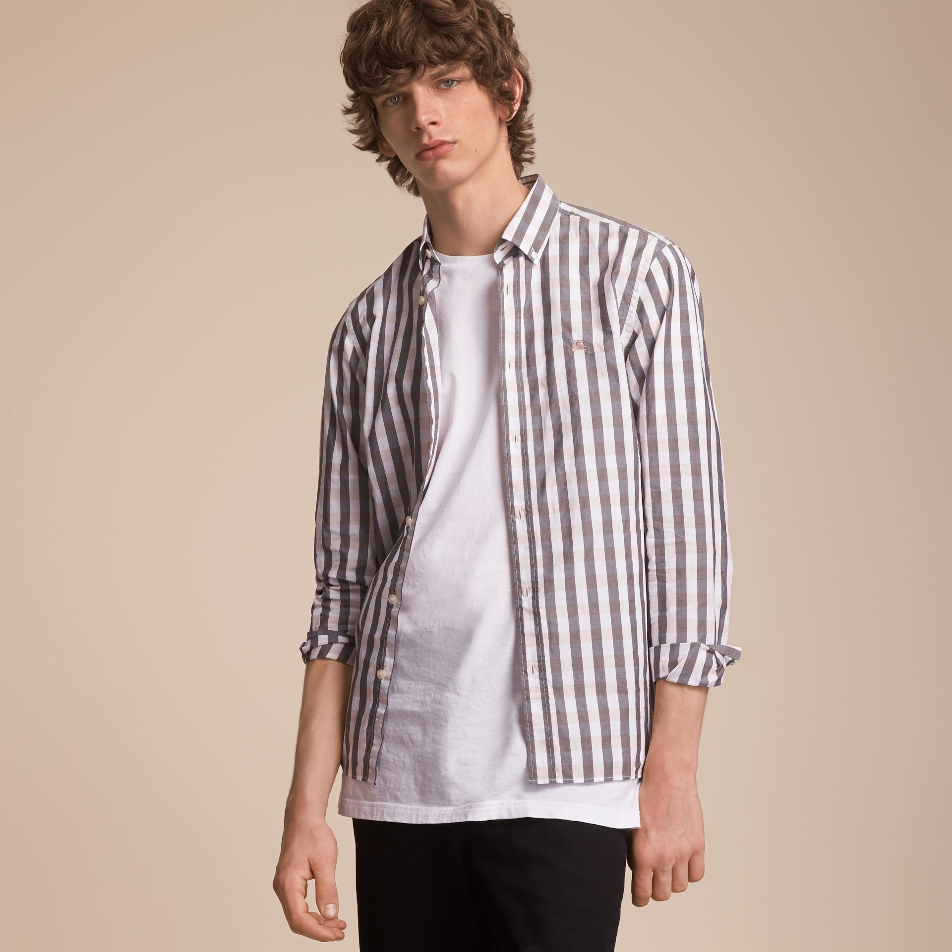 Button-down Collar Gingham Cotton Shirt in Chalk Pink - Men | Burberry - gallery image 6