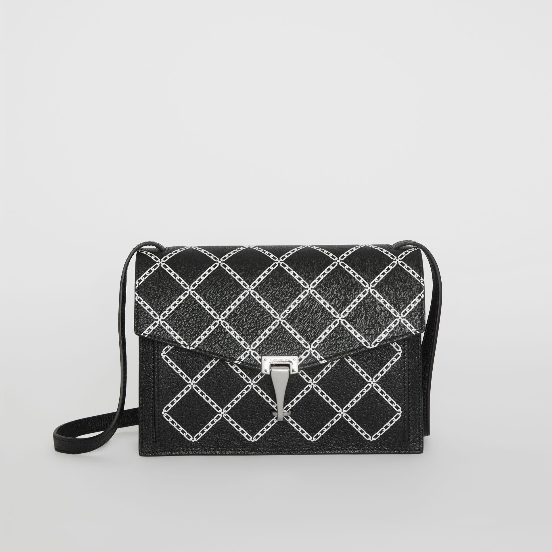 Small Link Print Leather Crossbody Bag in Black - Women | Burberry - gallery image 0