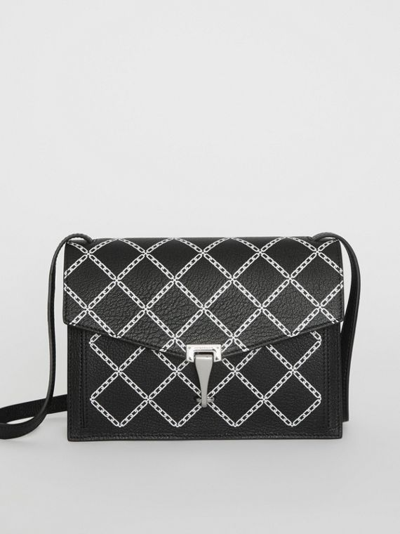 Small Link Print Leather Crossbody Bag in Black
