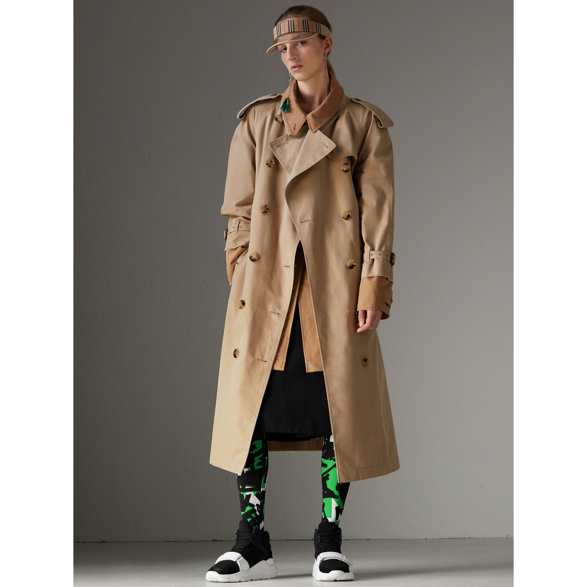 Cotton Gabardine Reconstructed Car Coat in Honey - Women | Burberry United States - gallery image 6