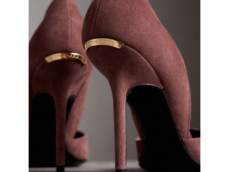 Point-toe Suede D'Orsay Pumps in Taupe Rose - Women | Burberry United Kingdom - cell image 1