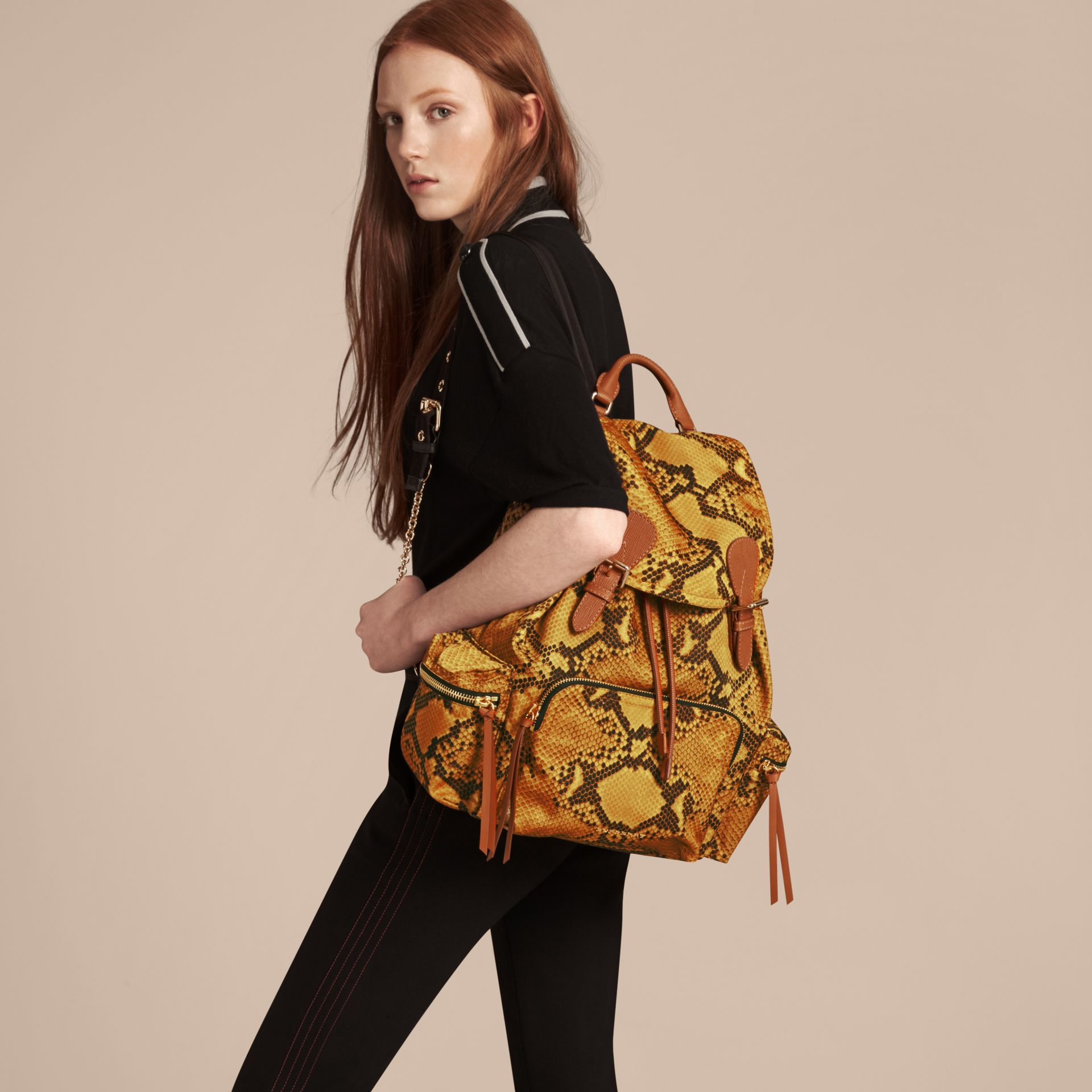 The Large Rucksack in Python Print Nylon and Leather in Yellow - gallery image 3