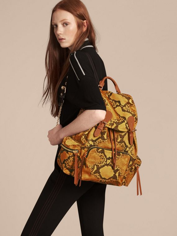 The Large Rucksack in Python Print Nylon and Leather in Yellow - cell image 2