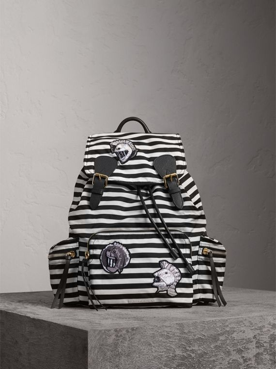 The Medium Rucksack with Pallas Heads and Helmet Appliqué in Black/white
