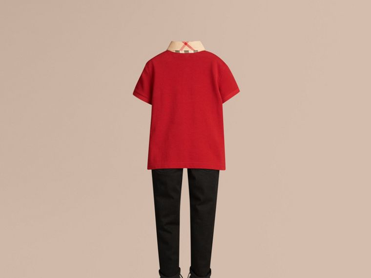 Check Collar Polo Shirt in Military Red - Boy | Burberry Singapore - cell image 2