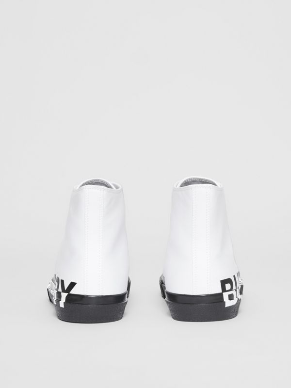 Logo Print Cotton Gabardine High-top Sneakers in Optic White/black - Men | Burberry - cell image 3