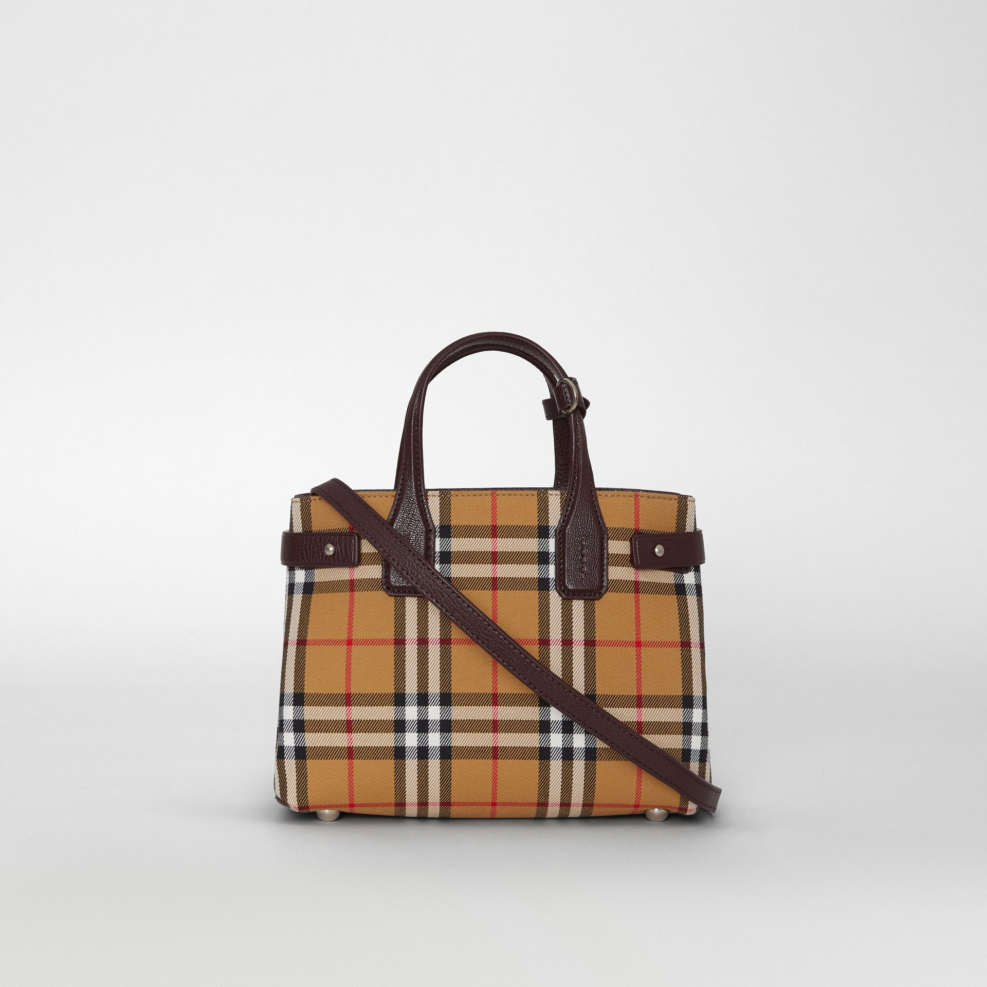 The Small Banner in Vintage Check and Leather in Deep Claret - Women | Burberry - gallery image 7