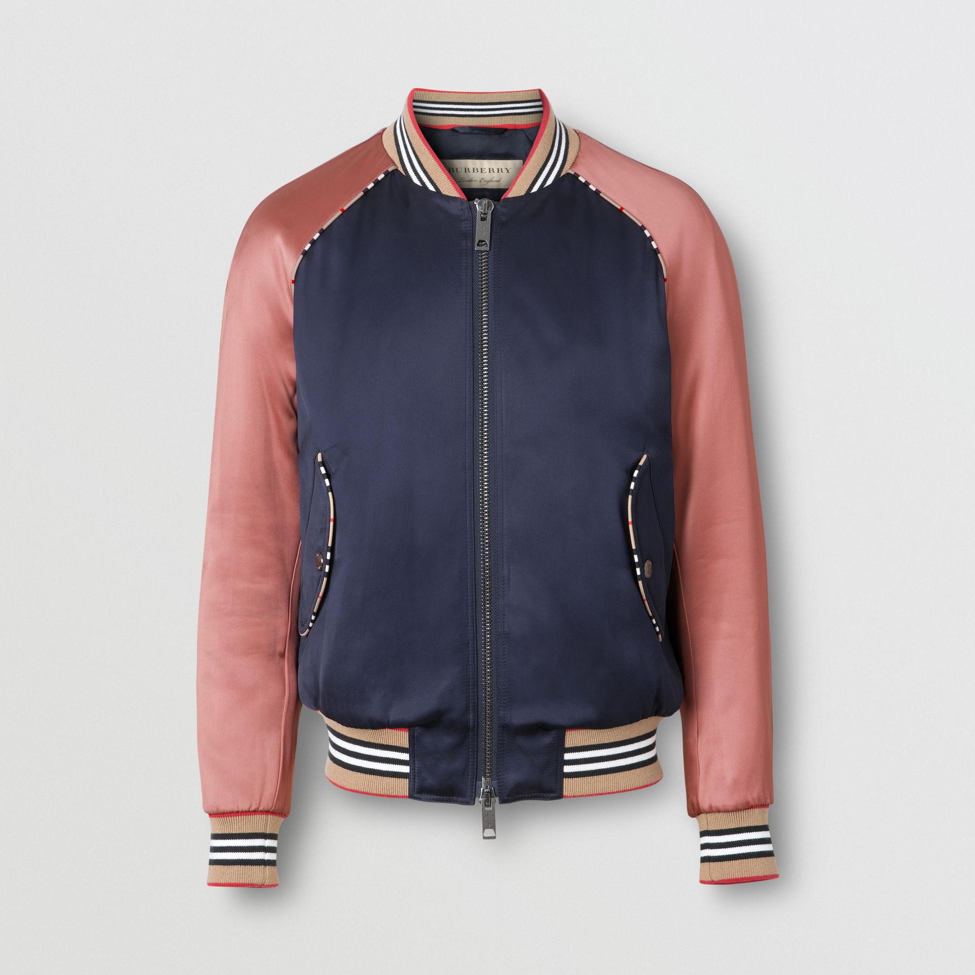 Icon Stripe Detail Monogram Motif Bomber Jacket in Navy/pink - Women | Burberry - gallery image 3