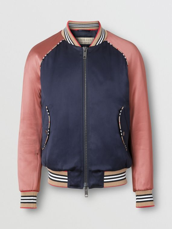 Icon Stripe Detail Monogram Motif Bomber Jacket in Navy/pink