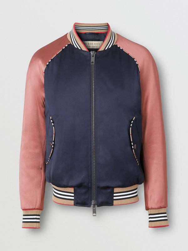 Icon Stripe Detail Monogram Motif Bomber Jacket in Navy/pink - Women | Burberry Australia - cell image 3