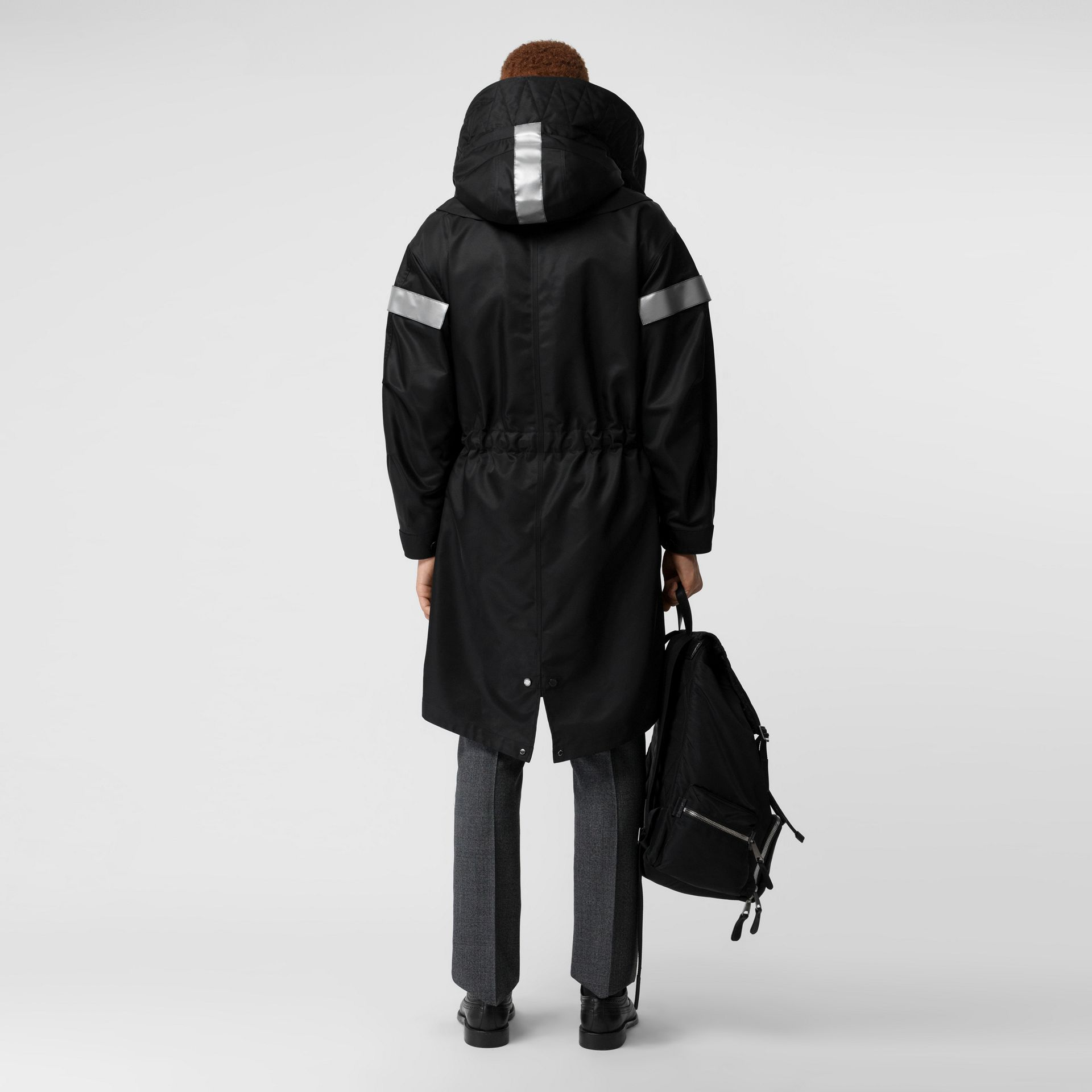 Detachable Hood Reflective Stripe Nylon Parka in Black - Men | Burberry - gallery image 2