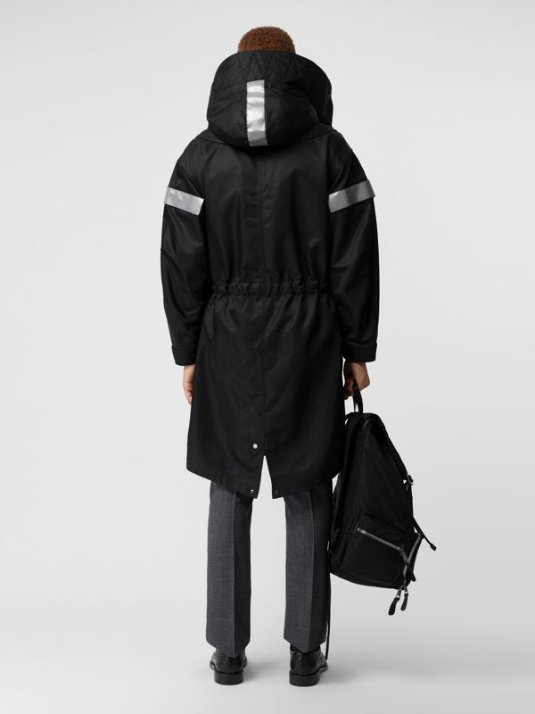 Detachable Hood Reflective Stripe Nylon Parka in Black - Men | Burberry - cell image 2