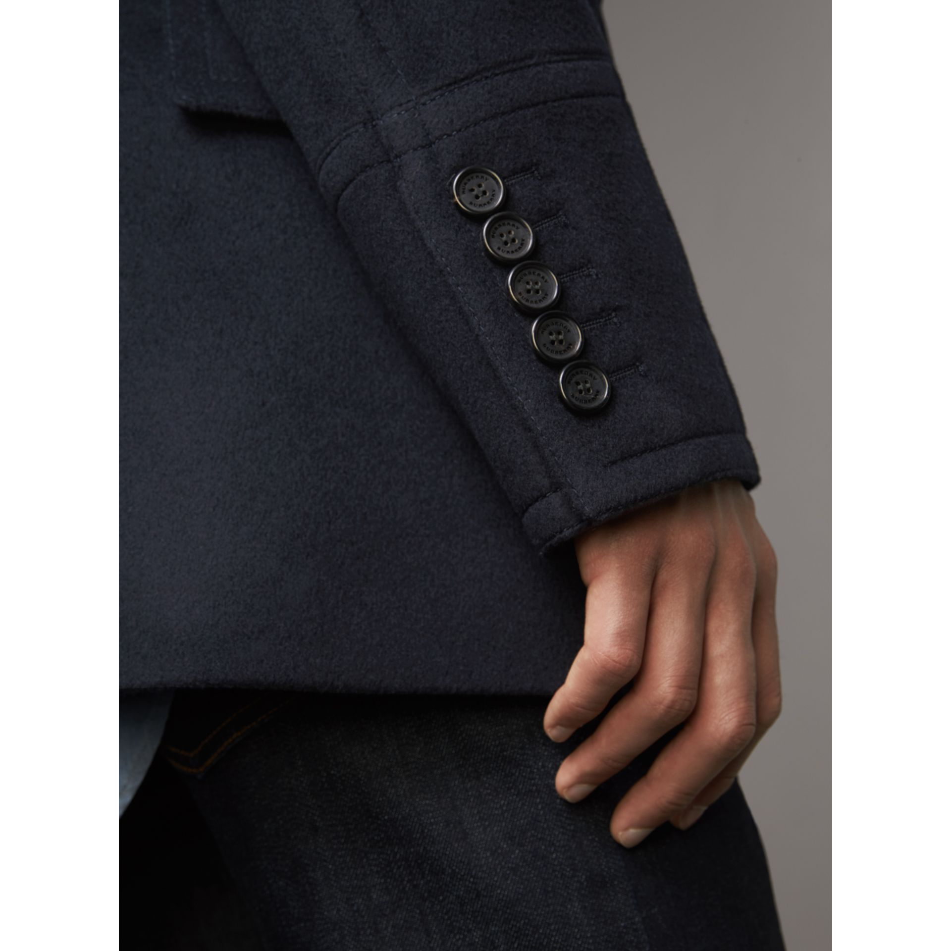 Wool Cashmere Pea Coat in Navy - Men | Burberry Australia - gallery image 6
