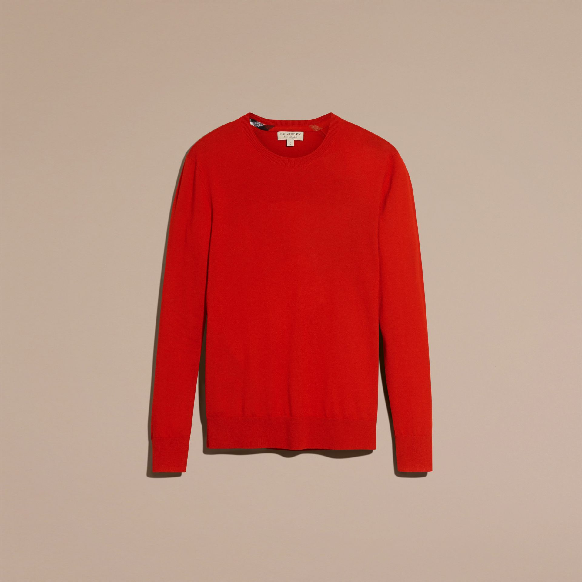 Lightweight Crew Neck Cashmere Sweater with Check Trim in Parade Red - Men | Burberry Australia - gallery image 4