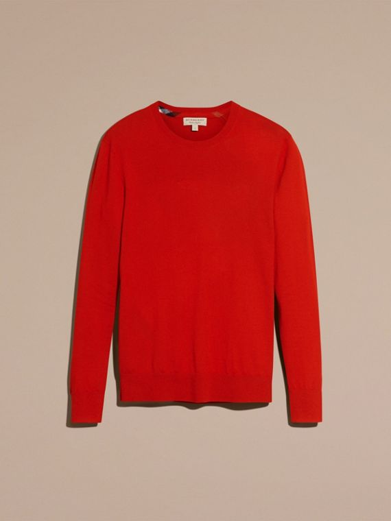 Lightweight Crew Neck Cashmere Sweater with Check Trim in Parade Red - Men | Burberry Australia - cell image 3