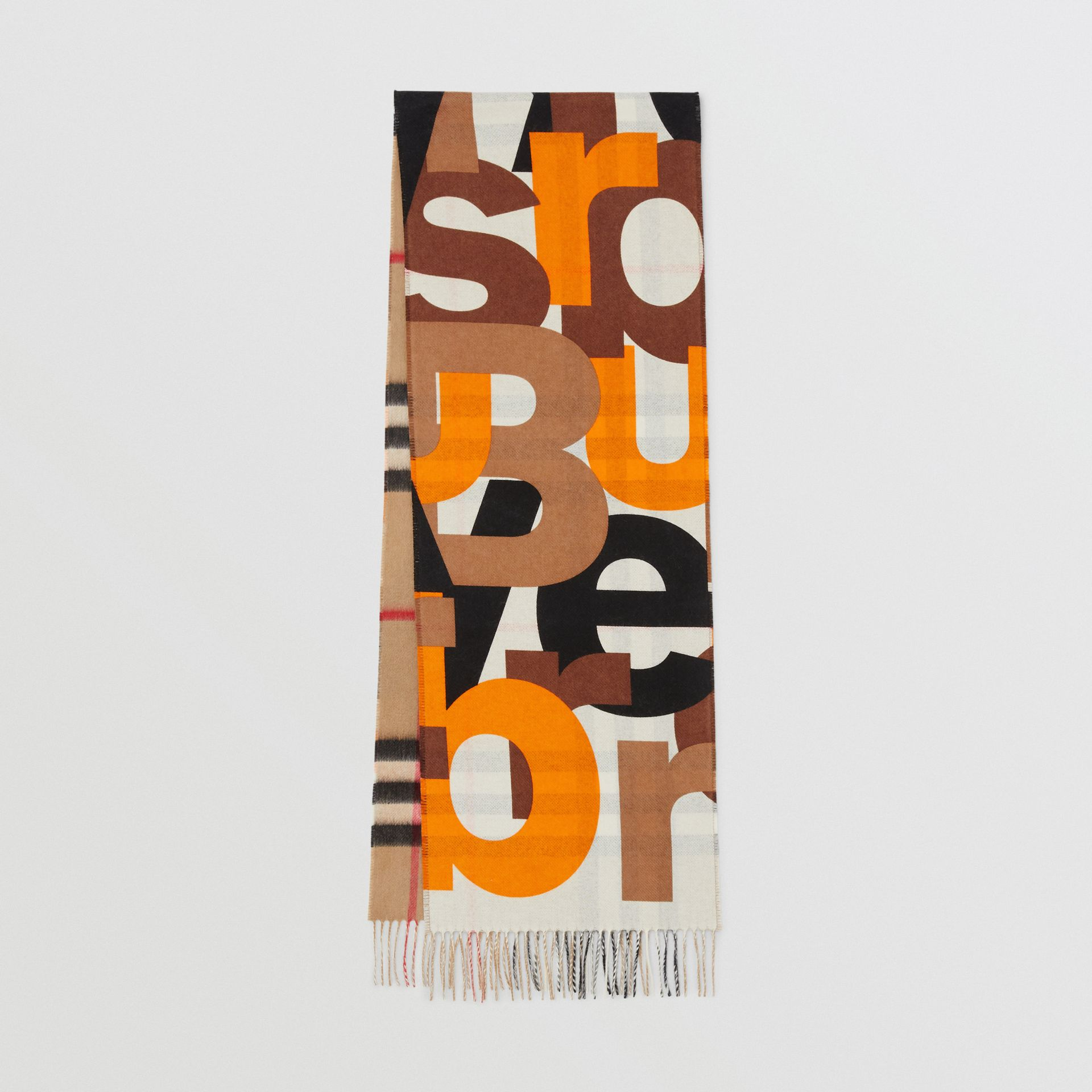 Block Print Check Cashmere Scarf in Walnut | Burberry - gallery image 0