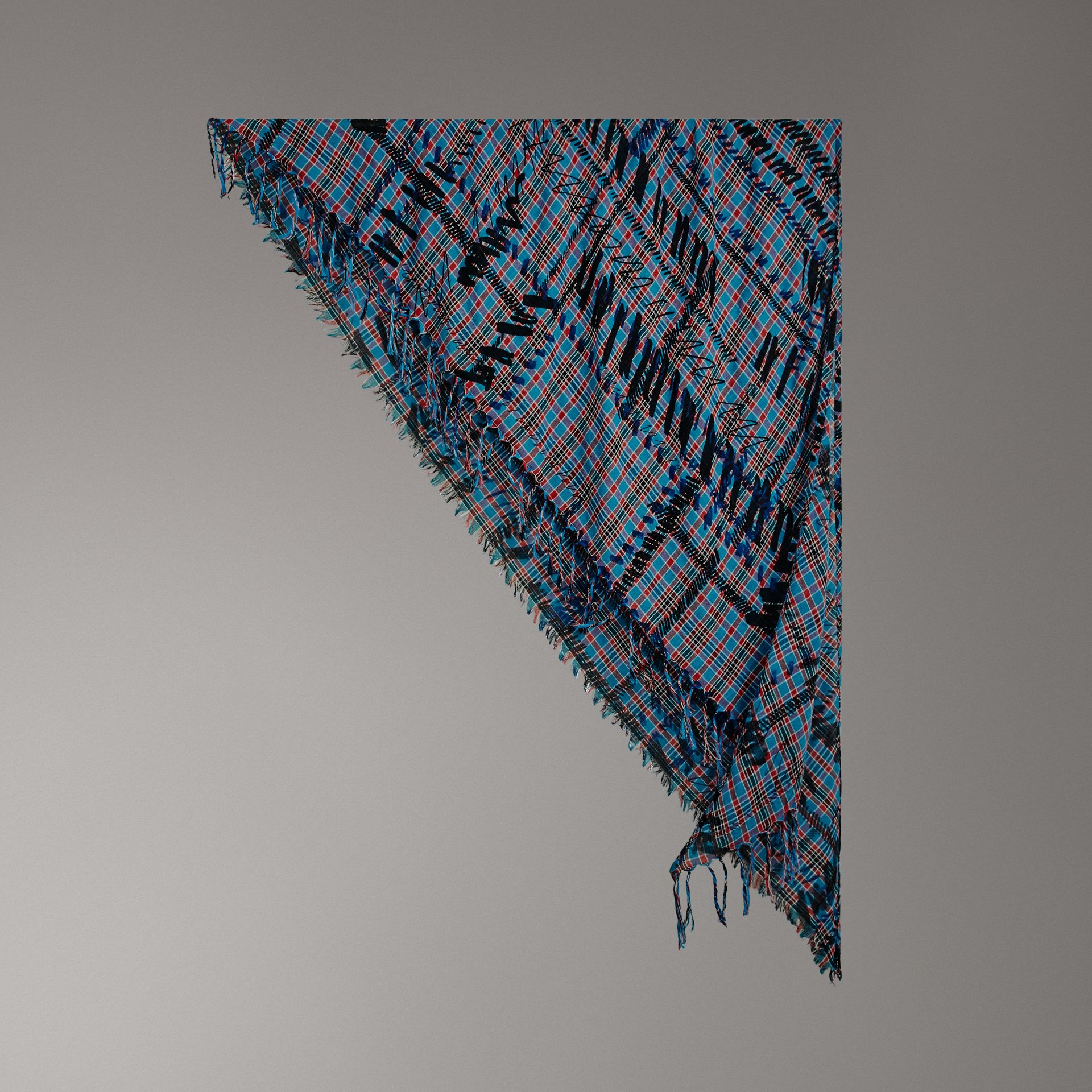 The Burberry Bandana in Scribble Check Cotton Silk in Mineral Blue | Burberry - gallery image 0