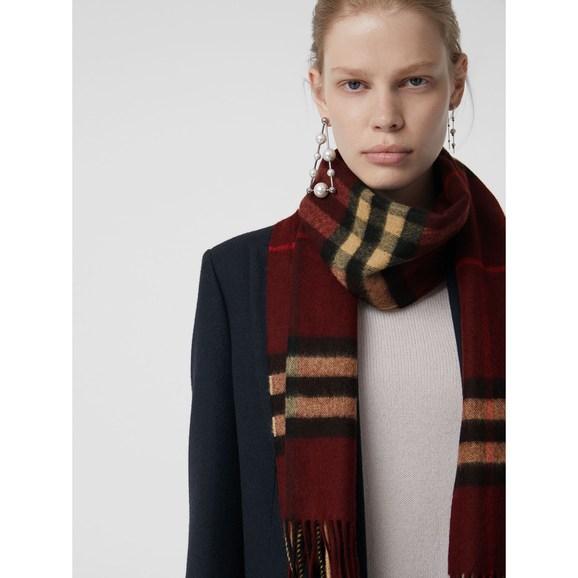 The Classic Check Cashmere Scarf in Claret | Burberry Singapore - gallery image 5