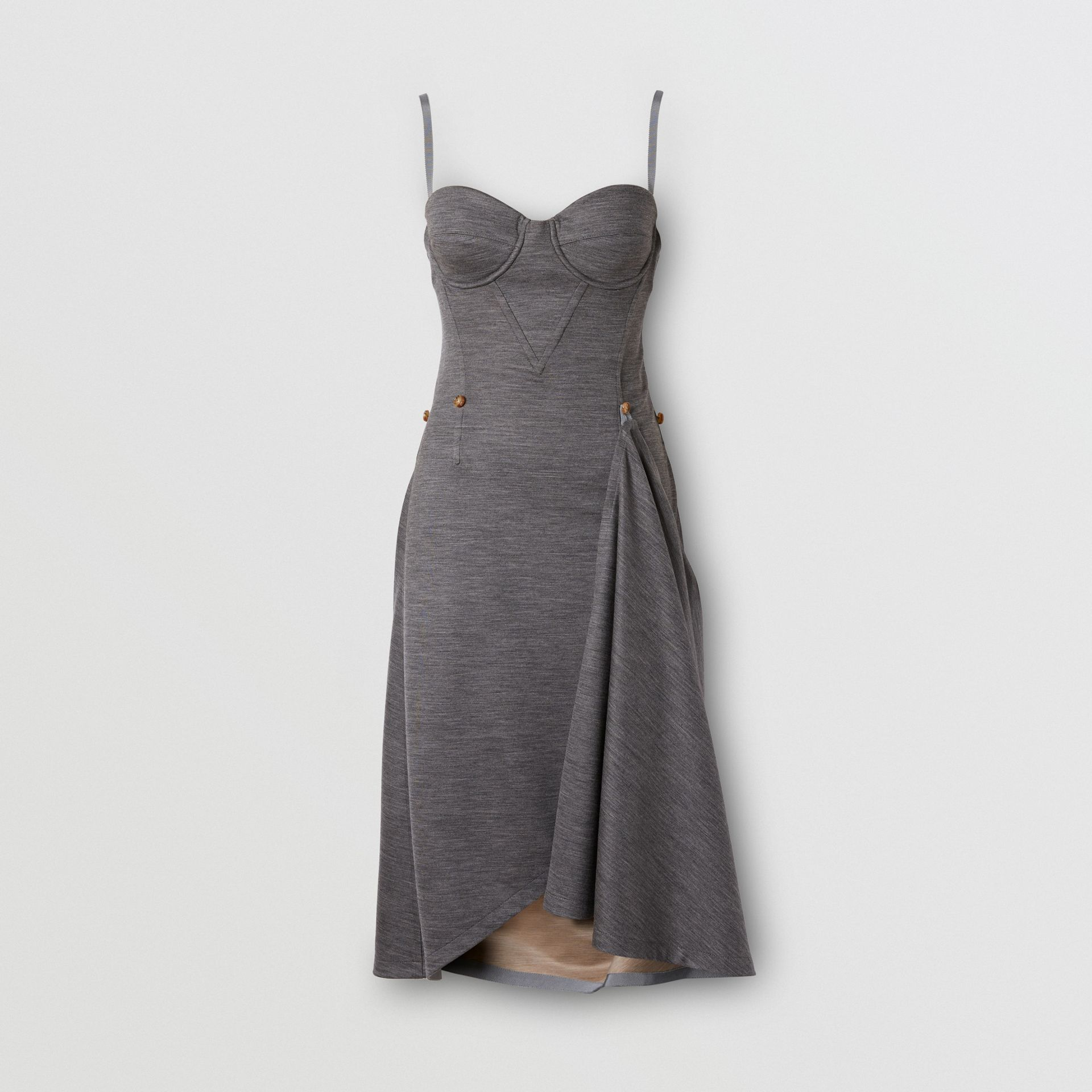 Asymmetric Technical Wool Corset Dress in Charcoal Grey | Burberry United Kingdom - gallery image 3