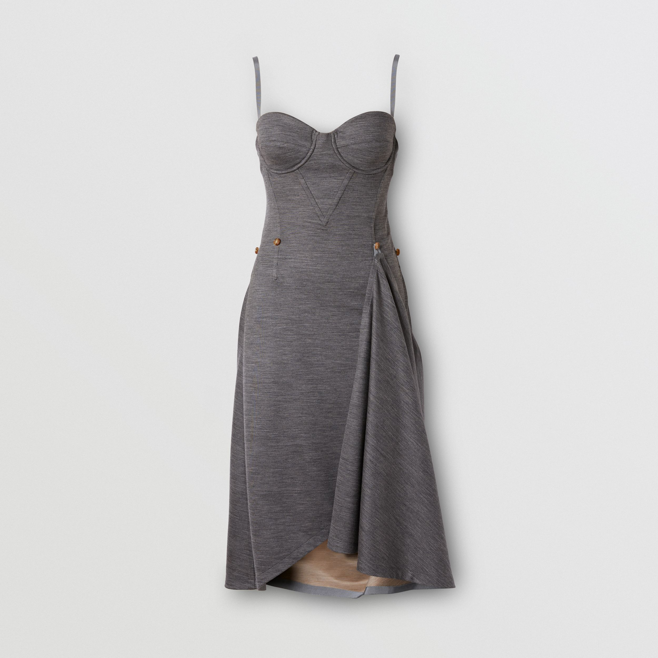 Asymmetric Technical Wool Corset Dress in Charcoal Grey - Women | Burberry Australia - 4