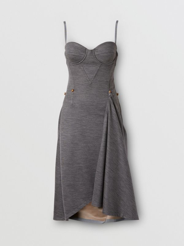 Asymmetric Technical Wool Corset Dress in Charcoal Grey | Burberry United Kingdom - cell image 3