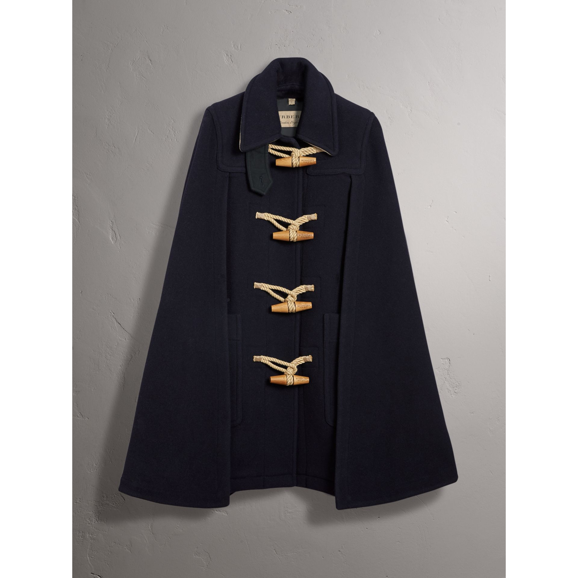 Double-faced Wool Blend Duffle Cape in Navy - Women | Burberry - gallery image 4