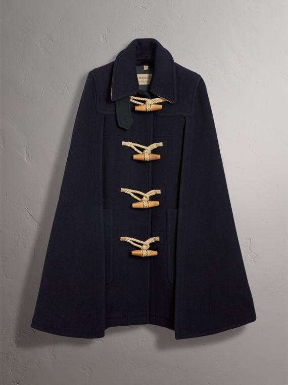 Double-faced Wool Blend Duffle Cape in Navy - Women | Burberry Australia - cell image 3