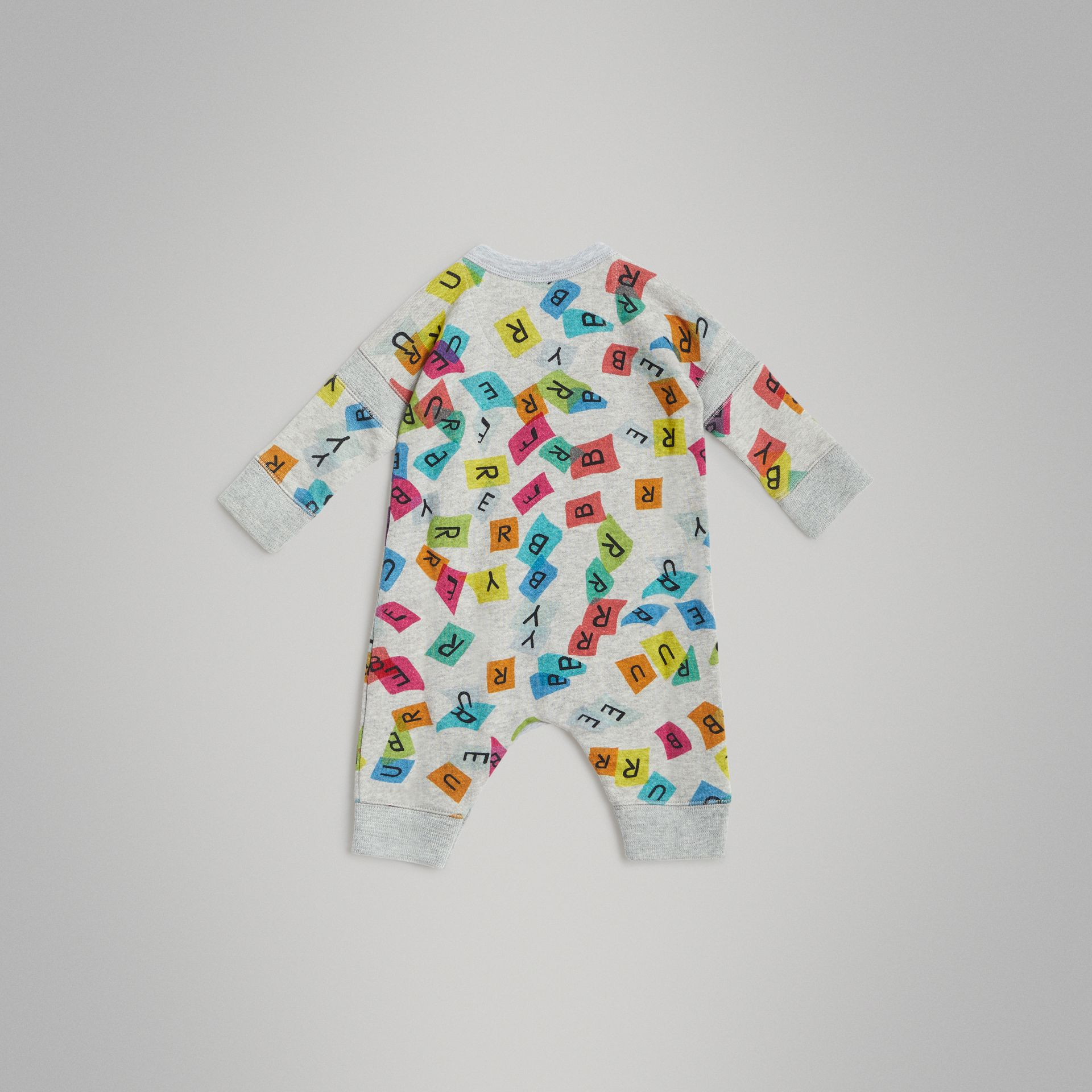 Confetti Letter Print Cotton Jumpsuit in Grey Melange - Children | Burberry - gallery image 3
