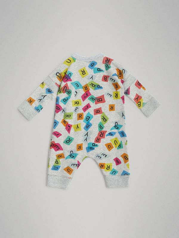 Confetti Letter Print Cotton Jumpsuit in Grey Melange - Children | Burberry - cell image 3