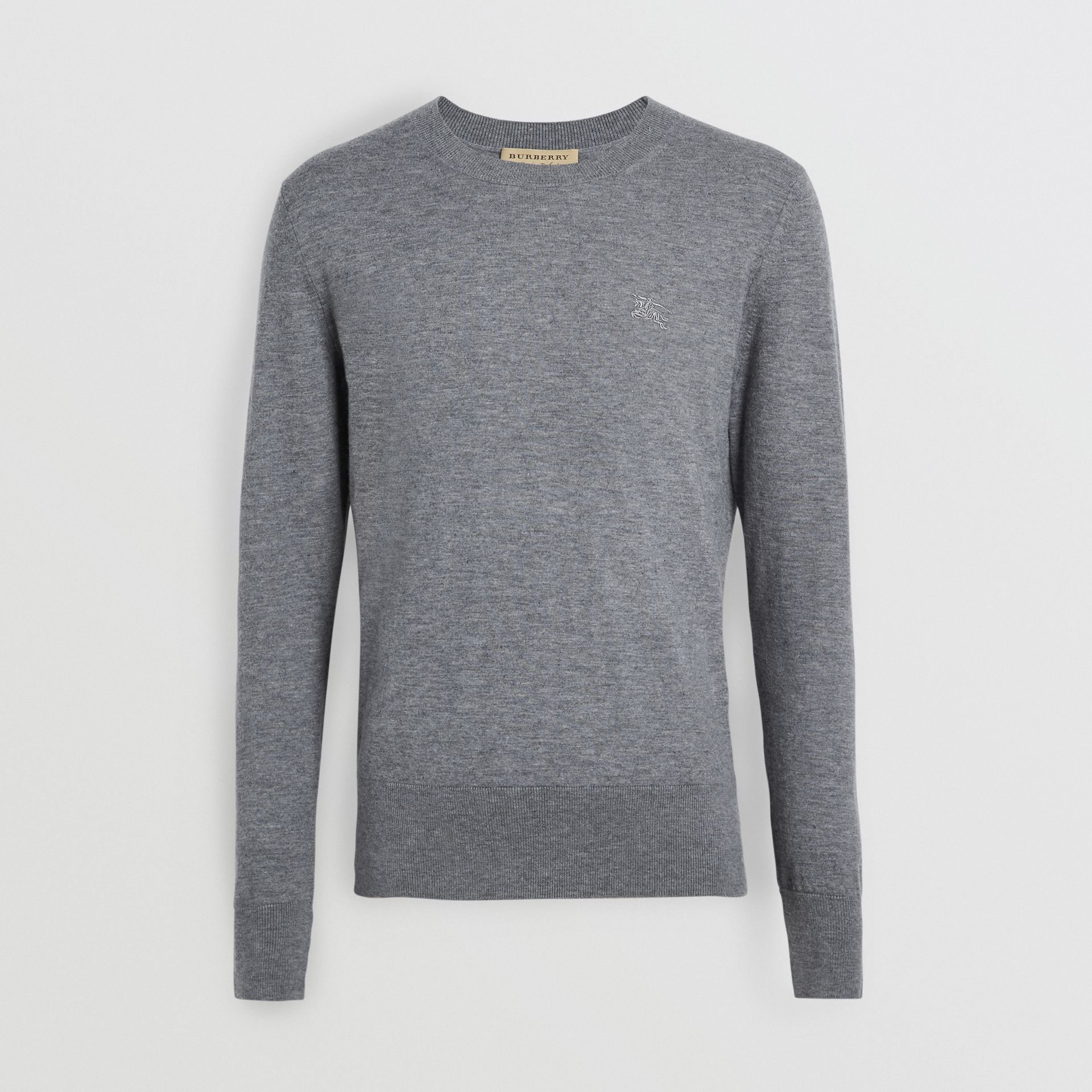 Crew Neck Cashmere Sweater in Pale Grey Melange - Men | Burberry Canada - gallery image 3