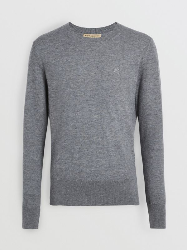 Crew Neck Cashmere Sweater in Pale Grey Melange - Men | Burberry Canada - cell image 3