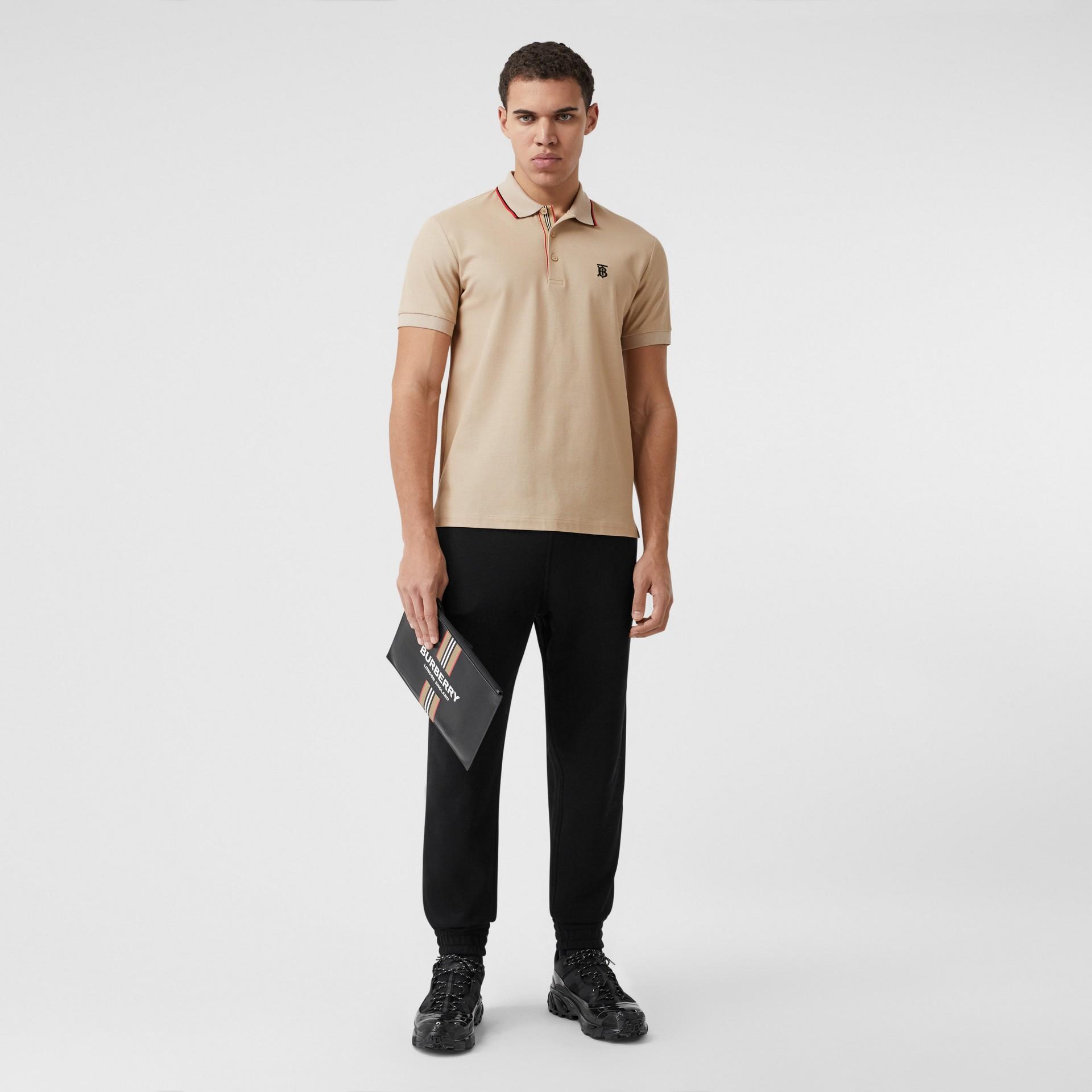 Monogram Motif Cotton Piqué Polo Shirt in Soft Fawn - Men | Burberry - gallery image 4