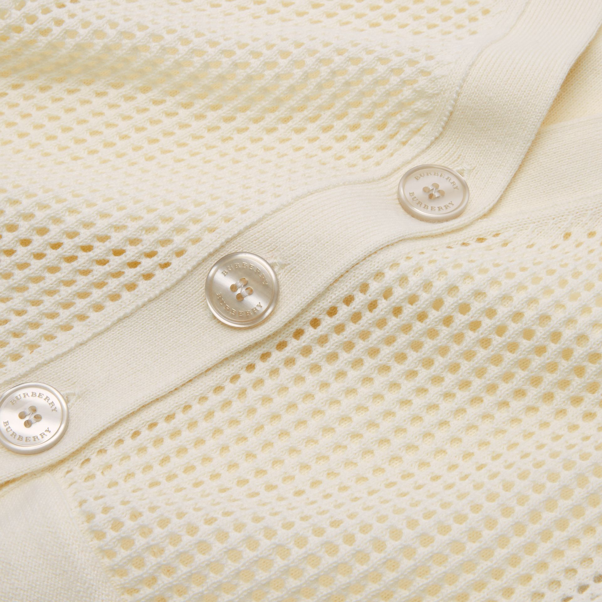 Open Knit Cotton V-neck Cardigan in Ivory | Burberry - gallery image 1