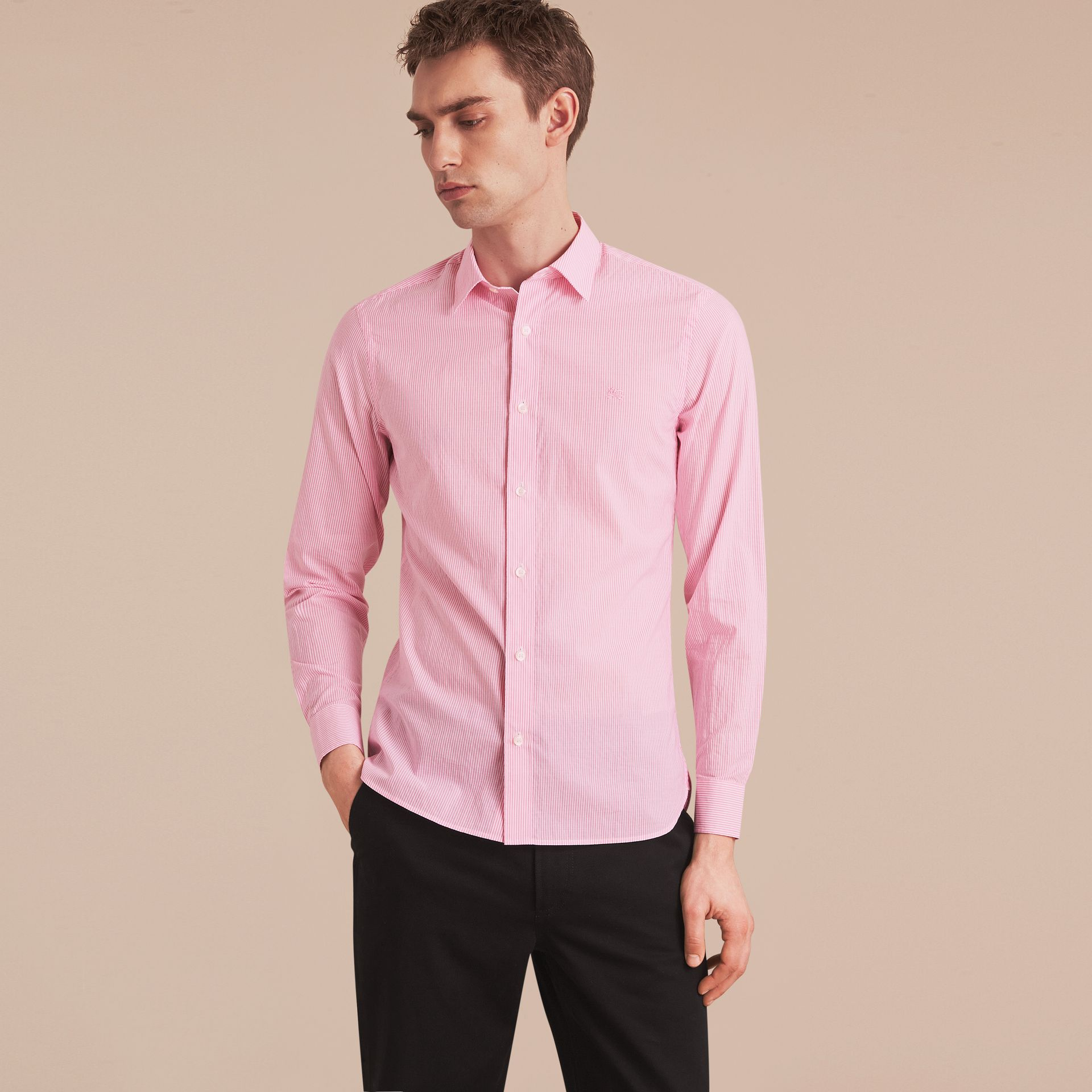 Striped Cotton Blend Shirt in Pale Pink - Men | Burberry - gallery image 6