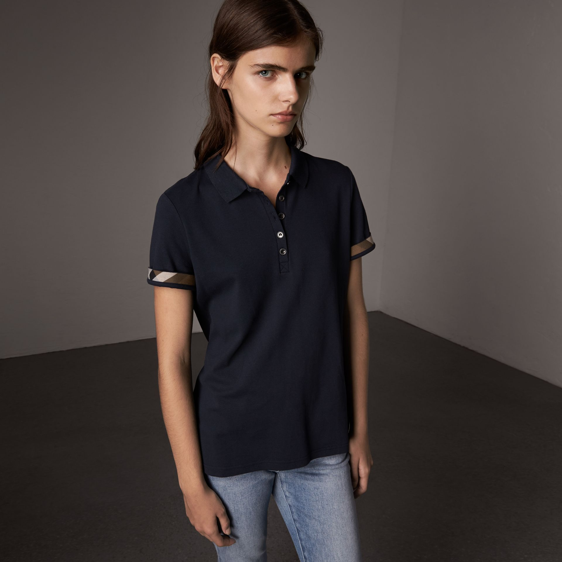 Check Trim Stretch Cotton Piqué Polo Shirt in Navy - Women | Burberry - gallery image 0
