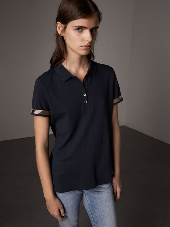 Check Trim Stretch Cotton Piqué Polo Shirt in Navy